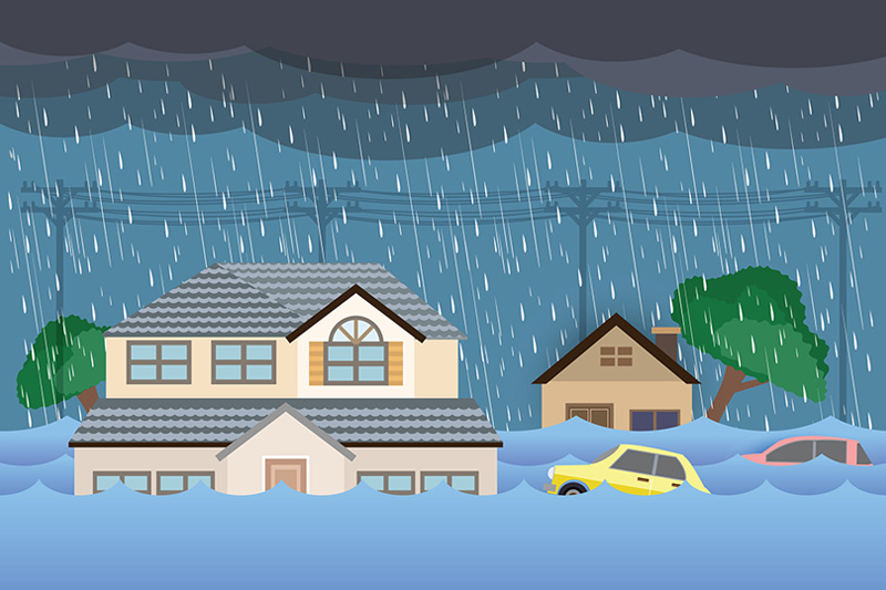 Illustration Of A Flooded Neighborhood Highlighting The Need For Home Flood Insurance.